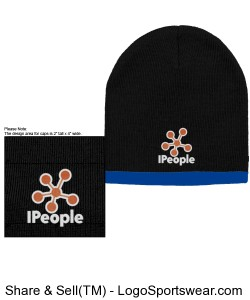 Two Color Beanie: Black/Royal Design Zoom